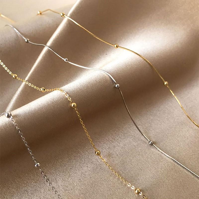 純銀蛇骨鏈 間隔圓珠蛇骨項鍊【365ME】整條S925銀項鍊/純銀項鍊