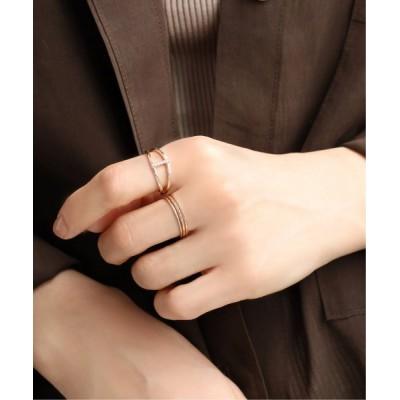 指輪 2ラインダイヤビームリング K10