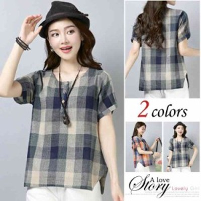 Tシャツ レディース 半袖 トップス チェック柄 シャツ ブラウス リネン素材 大きいサイズ クールネック ゆったり 森ガール