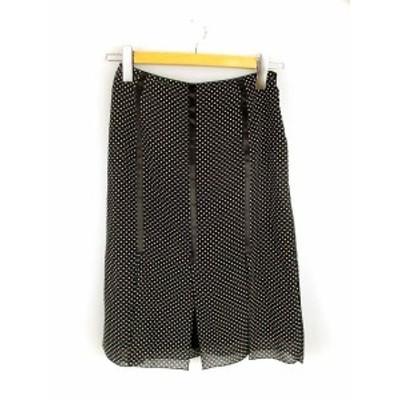 【中古】イネド INED リボン使い ドット スリット デザイン スカート ブラック ホワイト 黒 白 9 膝丈 レディース