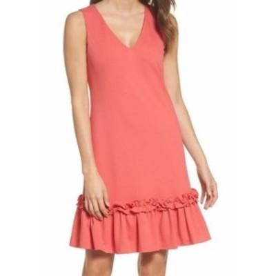 Ruffle  ファッション ドレス Chelsea 28 NEW Pink Ruffle Hem Womens Size 12 V-Neck Sheath Dress
