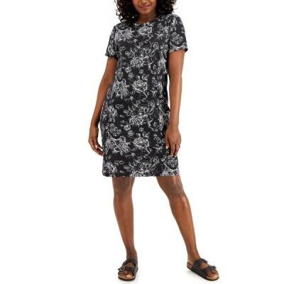 ケレンスコット ワンピース トップス レディース Petite Floral-Print Dress, Created for Macy's Deep Black