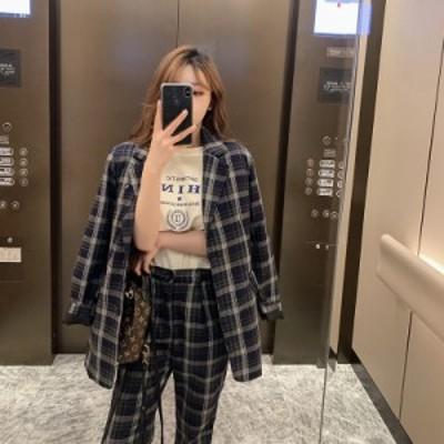 レディースファッション セットアップ パンツ チェック シングル レトロ カジュアル オルチャン 韓国
