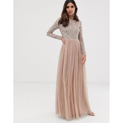 マヤ レディース ワンピース トップス Maya Bridesmaid long sleeve maxi tulle dress with tonal delicate sequins in taupe blush