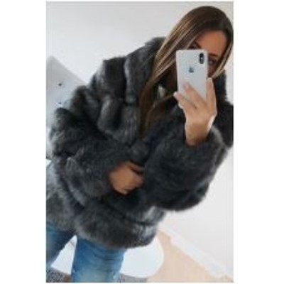 ダークグレー ふわふわ もこもこ ファーコート 大人上品 ジャケット コート 冬アウター 暖か 長袖 大人可愛い 防寒 スタイリッシュ フェ