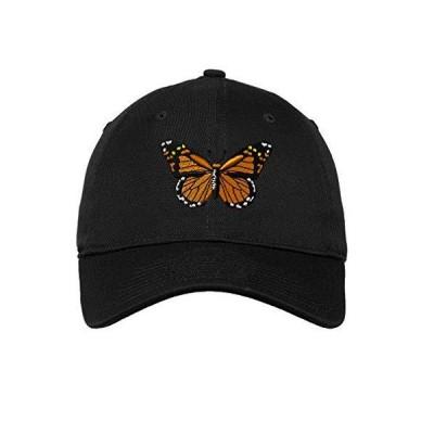 Monarch Butterfly 刺繍 ユニセックス 大人用 フラットソリッドバックル コットン アンストラクチャードハット ロープロファイルキャッ