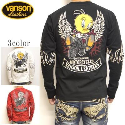 バンソン VANSON ルーニーテューンズ LTV-2018 天竺 長袖Tシャツ ロンT ルーニーテューンズ バイク バイカー トップス メンズ
