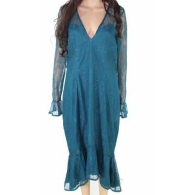 ファッション ドレス Lumier Womens Blue Size XL Floral Lace V-Neck Flouce Sheath Dress
