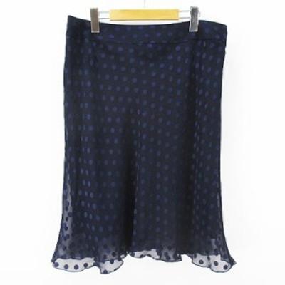 【中古】インディヴィ INDIVI 水玉 ドット柄 膝丈 フレアスカート フロッキー 48 ネイビー 紺系 裏地 ワールド 日本製