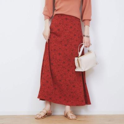 ルージュヴィフ ラクレ Rouge vif la cle ドローイングフラワースカート (オレンジ)