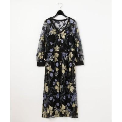 【グレースコンチネンタル】 チュールフラワー刺繍ドレス レディース ブラック 36 GRACE CONTINENTAL