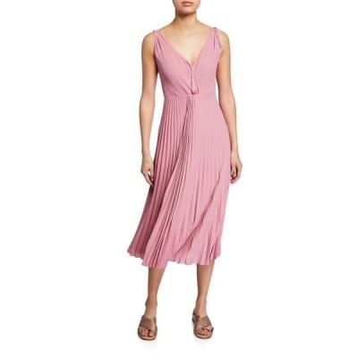 ヴィンス レディース ワンピース トップス Pleated Twist-Front Sleeveless Midi Dress