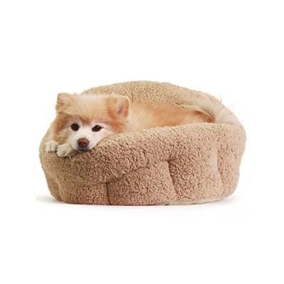 洗える ペット用 ベッド / クッション 小型犬 猫 ふわモコ 伸縮性に富んだ暖かいベッド (ベージュ)