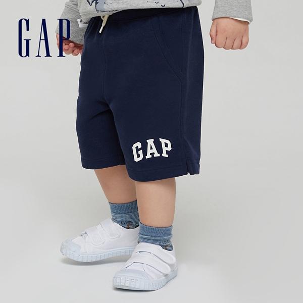 Gap男幼童 碳素軟磨系列 Logo法式圈織休閒短褲 796715-海軍藍