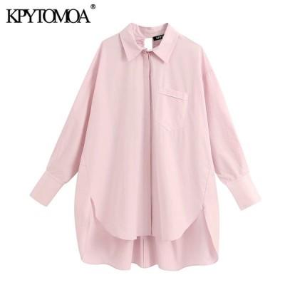 女性 2020 ファッション特大ポケット不規則なブラウスヴィンテージロングスリーブバックベント女性シャツ blusas トップス