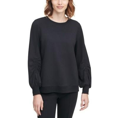 カルバンクライン カットソー トップス レディース Ruched-Sleeve Sweatshirt Black