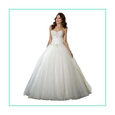YIPEISHA Sweetheart Beaded Corset Bodice Classic Tulle Wedding Dress (Custom Size, Ivory)並行輸入品