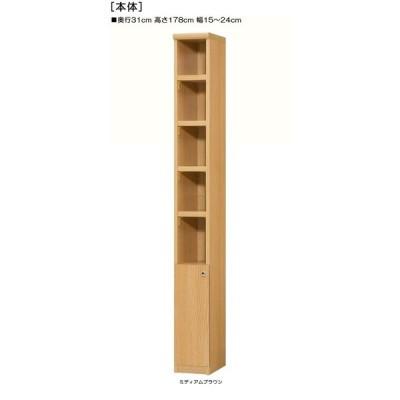 下部扉 リビング隙間収納 高さ178cm幅15〜24cm奥行31cm厚棚板(棚板厚み2.5cm) 下扉高さ52.5cm シリーズ本収納 塾
