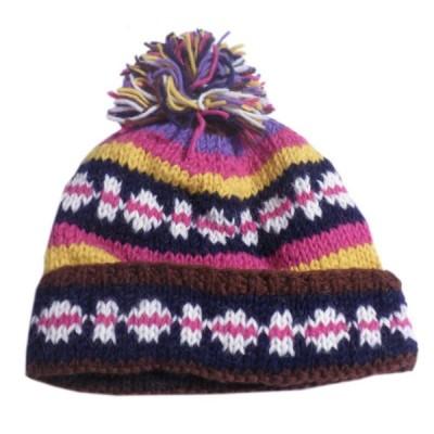 帽子 ネパール・手編みボンボン帽子28 クリックポスト選択 送料200円