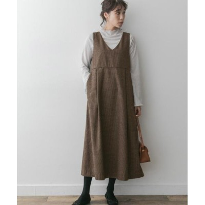 (URBAN RESEARCH ROSSO/アーバンリサーチ ロッソ)F by ROSSO チェックジャンパーワンピース/レディース BROWN