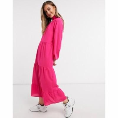 ローラ メイ Lola May レディース ワンピース ティアードドレス ワンピース・ドレス Trapeze Tiered Maxi Dress With Tie Neck In Hot Pi