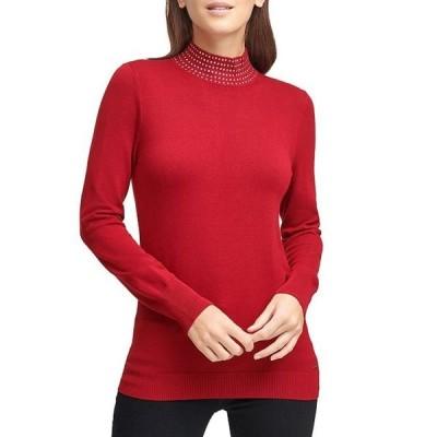 ダナ キャラン ニューヨーク レディース パーカー・スウェット アウター Nailhead Stud Embellished Mock Neck Long Sleeve Sweater