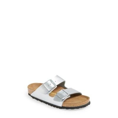 ビルケンシュトック BIRKENSTOCK レディース サンダル・ミュール スライドサンダル シューズ・靴 Arizona Birko-Flor Slide Sandal Silver