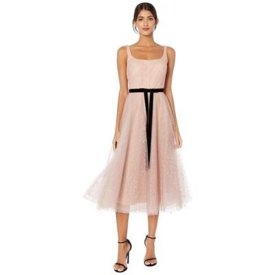 マルケサノット レディース ワンピース トップス Sleeveless Glitter Tulle Tea-Length Gown w/ Velvet Ribbon Waist Trim