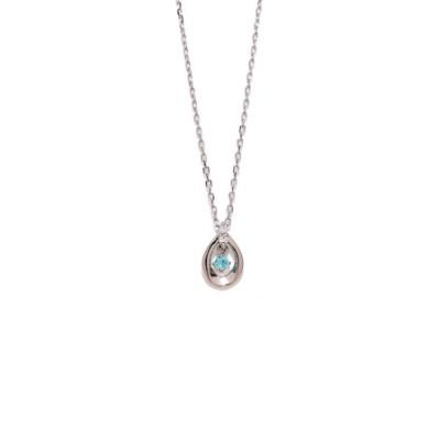10月誕生石 プラチナ パライバトルマリン ダイヤモンド ネックレス