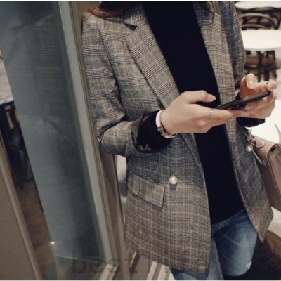 チェック柄フォーマルスーツジャケット通勤オフィスレディース普段着ロングトレンチユニックチェック柄カジュアル韓国ファッション