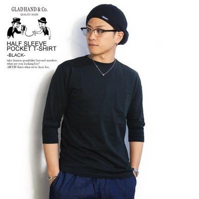 グラッドハンド Tシャツ GLAD HAND HALF SLEEVE POCKET T-SHIRT -BLACK-