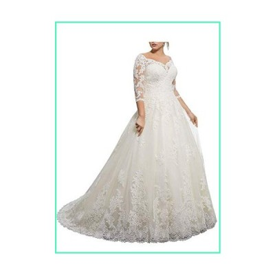 Women's Lace Wedding Dresses for Bride with 3/4 Sleeves Plus Size Bridal Gown Ivory並行輸入品
