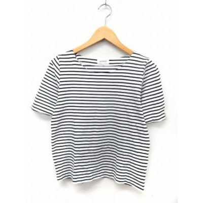 【中古】アナトリエ ANATELIER カットソー Tシャツ ボーダー 半袖 ボートネック 40 ホワイト ブラック /ST13