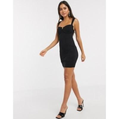 エイソス レディース ワンピース トップス ASOS DESIGN mini dress with wire cupped bra Black