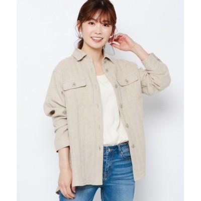 【エアパペル】 麻ヘリンボンシャツジャケット レディース ベージュ 11(L/ミセス) AIRPAPEL