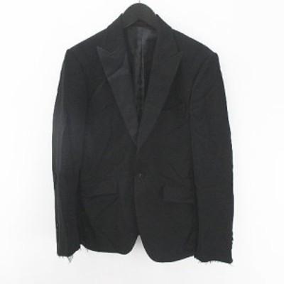 【中古】カスタムカルチャー CUSTOM CULTURE テーラードジャケット 絹 シルク 40 黒系 ブラック 日本製 カットオフ 毛