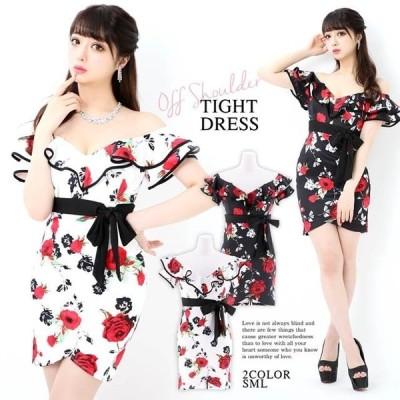 キャバ ドレス ミニ キャバドレス ワンピース ナイトドレス 大きいサイズ ウエストリボン 花柄 タイトミニドレス S