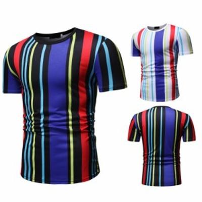 半袖ラウンドネックTシャツを印刷するメンズファッションカジュアル縦縞