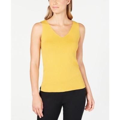 アンクライン カットソー トップス レディース Double V-Neck Sleeveless Top Cezanne Yellow