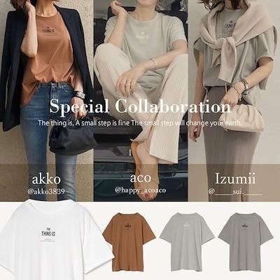 [お家で洗える]綿天竺メッセージロゴTシャツ