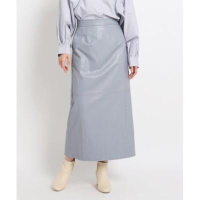 【グローブ】 フェイクレザーロングスカート レディース ブルー 02(M) grove