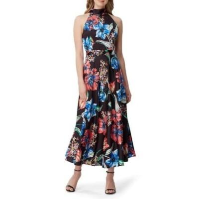 タハリ レディース ワンピース トップス Floral Crepe Halter Midi Dress PAINTED BLOOMS BLK