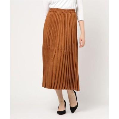 スカート フェイクスエードプリーツスカート