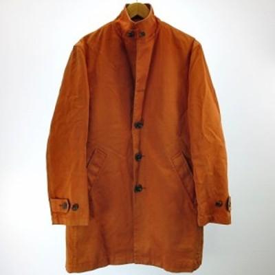 【中古】タケオキクチ TAKEO KIKUCHI スタンドカラーコート ライナー付 ボンディング キルティング オレンジ 2 約M