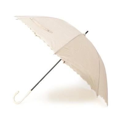grove(グローブ)because 晴雨兼用 スカラップリボン刺しゅう長傘