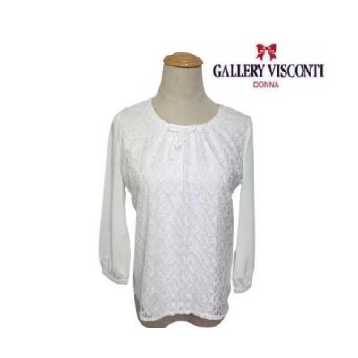 ギャラリービスコンティ ラッセルレース使いブラウスカットソー ホワイト M ビスコンティ2 大人かわいい服