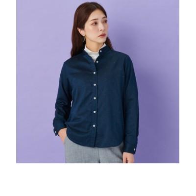 レディース ウィメンズシャツ 長袖 形態安定 やわらかガーゼ スタンド衿 綿100% ネイビー×無地調、カラーネップ