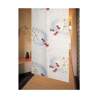 のれん 柳と金魚 幅85cm×丈150cm