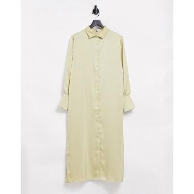 プリティーラビッシュ Pretty Lavish レディース ワンピース ミドル丈 ワンピース・ドレス Naomi Satin Shirt Midi Dress In Sage セージ