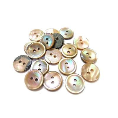 ボタン 手芸 素材 茶蝶貝 茶色系 13mm 2つ穴 プレ−ン 貝ボタン 14個入り